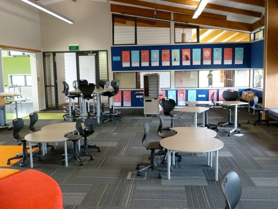 Multimedia Classroom Design ~ Moveable furniture note the wheels on chairs and