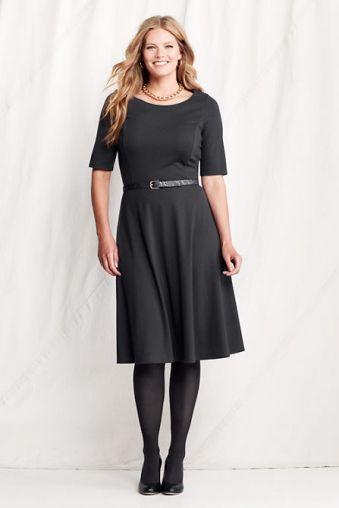 CurvyMarket - Women's Elbow Sleeve Ponté Boatneck Dress from Lands' End