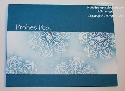 handmade Christmas card ... German sentiment ... Mixed Bunch flower as a snowflake ... embossed in white and sponged with blues ... luv the effect ... Stampin' Up!