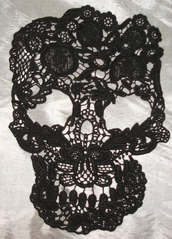 Large Black Lace Skull Applique Purchase for DIY or by RamCatAlley