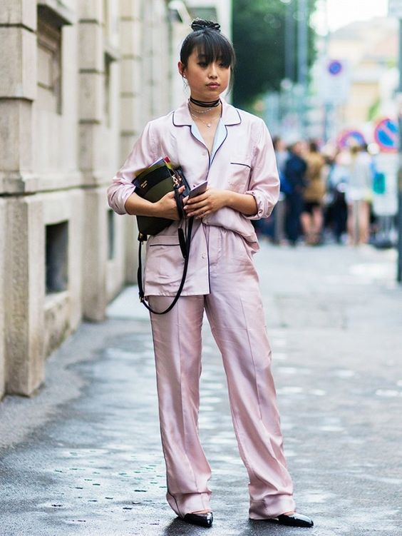 Style Notes: Margaret Zhang has the silk pyjama suit trend wrapped up with a choker on top!: