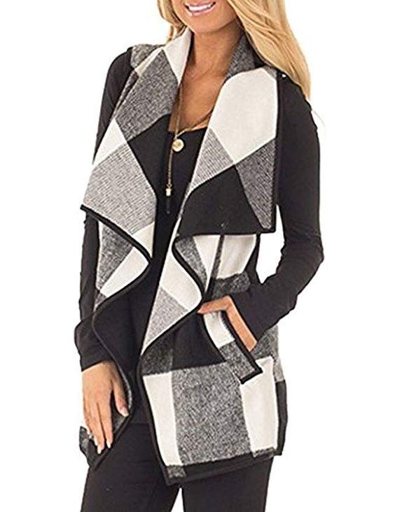SocoToo Women's Color Block Lapel Open Front Sleeveless Plaid Vest Cardigan with Pockets (Black, Medium)