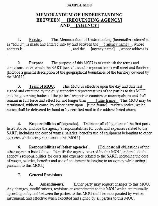 Sample Memorandum Of Understanding Business Partnership Doc By