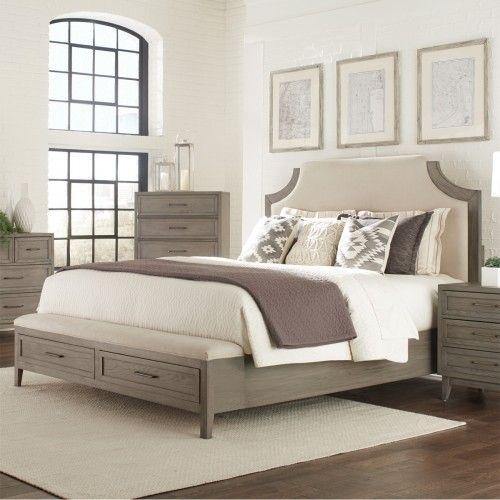 Vogue Wood & Upholstered Storage Bed  Riverside furniture, Queen