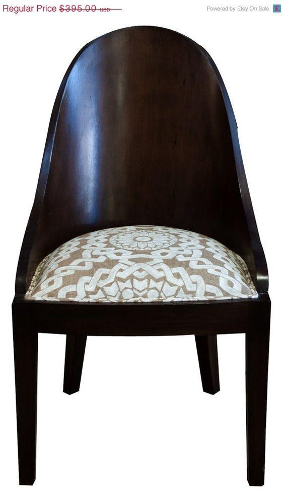 Wood Barrel Back Art Deco Chair $375