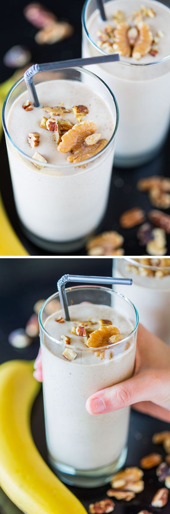 recipe for a healthy vegan Banana Nut Crunch Smoothie with lots of ...