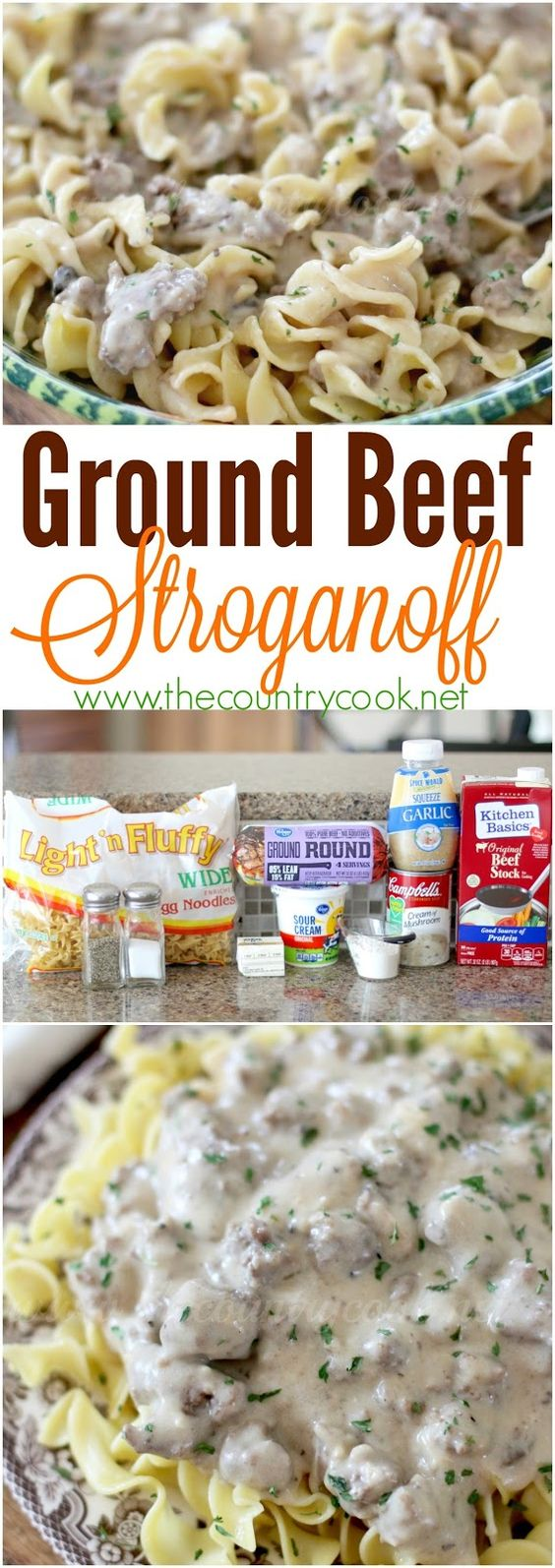 Ground Beef Stroganoff recipe from The Country Cook. One of our favorite dinners and it's ready in 25 minutes!