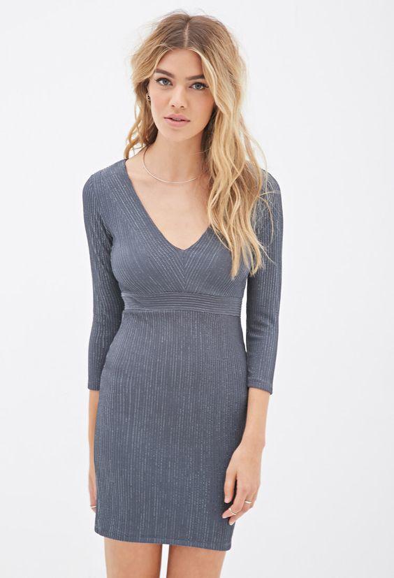 Metallic-Threaded Knit Dress - Dresses - 2000117745 - Forever 21 UK