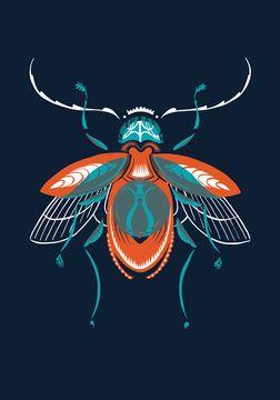 Beetle print. Great color palette!