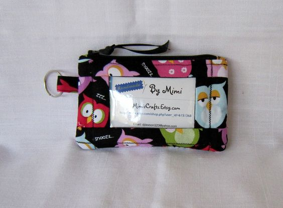 ID Wallet Coin Purse With Key Ring and Zipper Closure  Made From Sleepy Owls By Brother Sister Design Studio. $12.00, via Etsy.