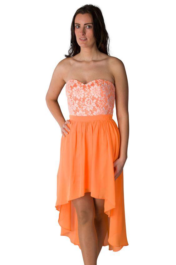 Chiffonkleid mit Spitze - orange/weiß      Sommerkleid von Laona     Oberstoff aus feinem Chiffon und grober Spitze, blickdicht unterlegt...
