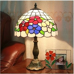 12 Zoll Tiffany Tischlampe, 1 flammig, Floral Muster