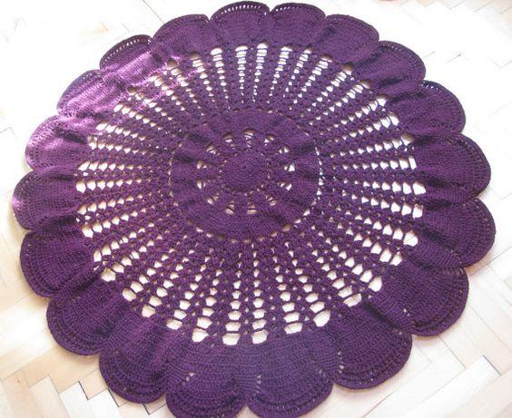 Burgunder Teppich häkeln-Teppich runder Teppich von knittingwomen