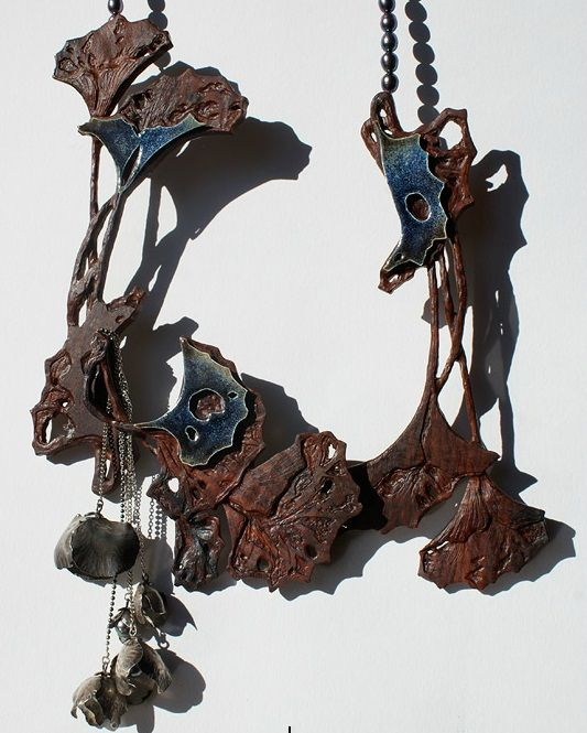 Anne Léger - Nocturne 2012 - necklace - carved wood, silver, enamel, pearl