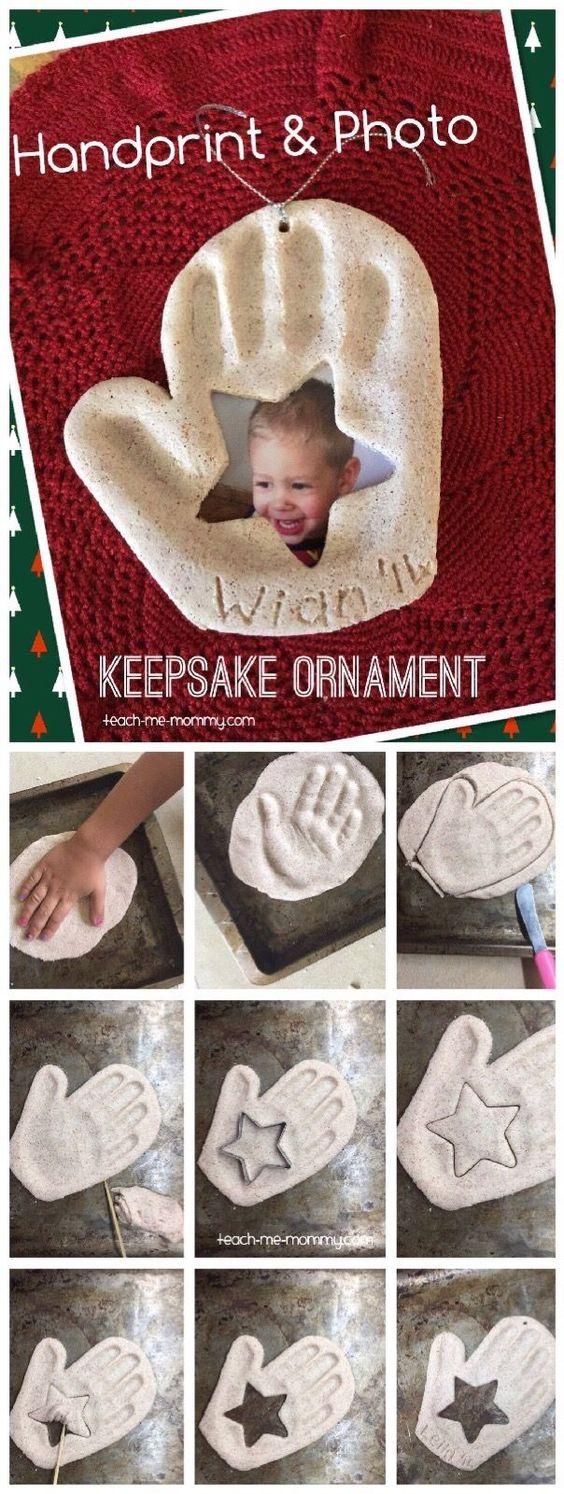 Handprint & Photo Keepsake Ornament