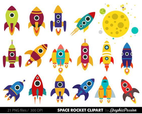 Retro Rockets Clip Art Clipart Raumschiff von GraphicPassion