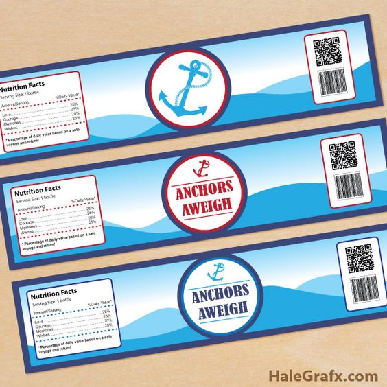 Anchors aweigh labels free printable anchors aweigh water bottle labels party pinterest - Samantha diva futura ...