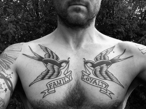 Banners With Family And Loyaly Mens Traditional Swallow Upper Chest Tattoos Chest Tattoo Men Traditional Chest Tattoo Tattoos For Guys
