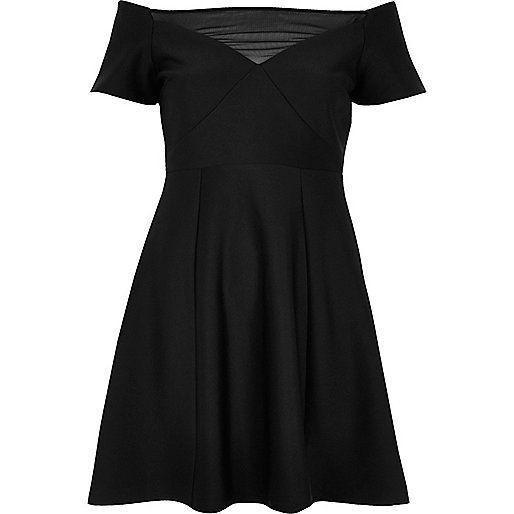 Black mesh bardot skater dress - skater dresses - dresses - women