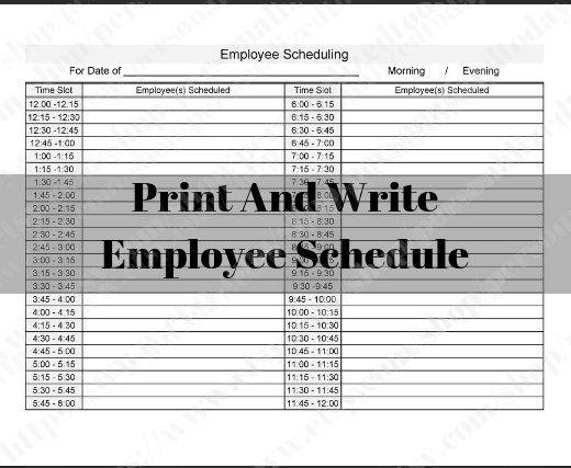 Printable Employee Work Schedule 12 Hours Or 24 Hours 15 Minute