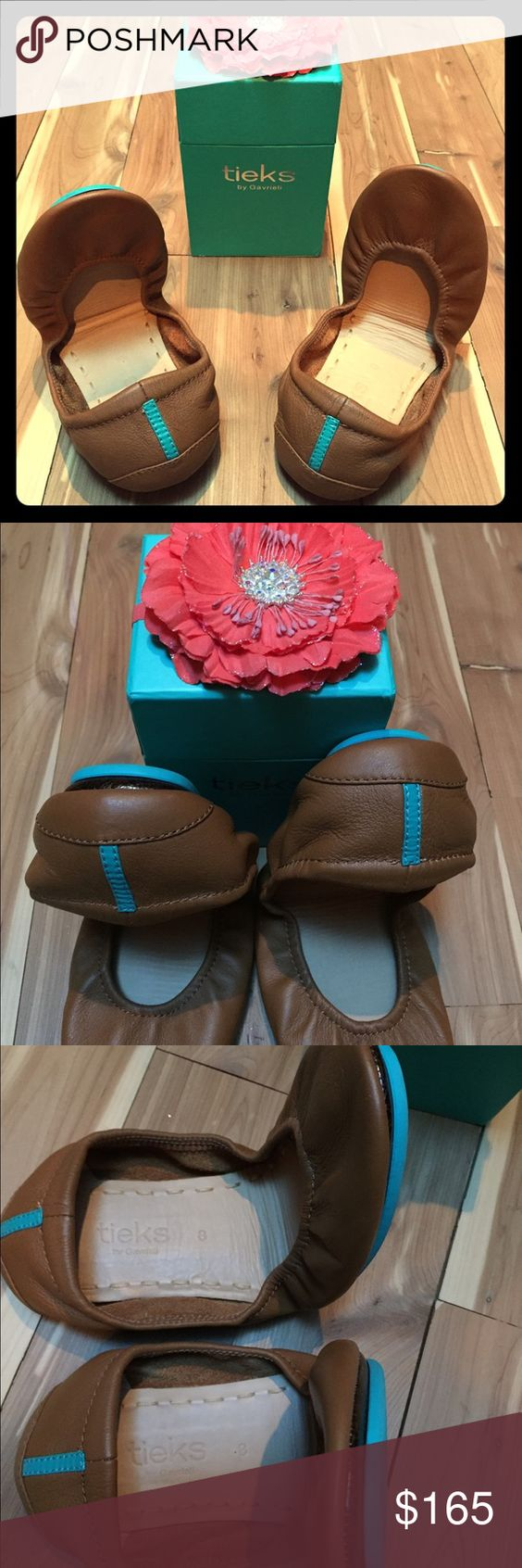 "Chestnut Tieks EEUC Chestnut Tieks in near perfect condition. Worn once outdoors. This shade does not compliment my skin tone well and it feels a bit snug. Made of quality Italian leather and sale includes box and Tieks flower. Cross listed on alternate selling site ""Ⓜ️"" (preferred method) Tieks Shoes Flats & Loafers"