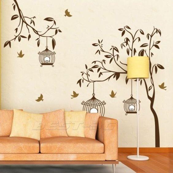 Sticker autocollant mural arbre oiseaux d co mur maison for Autocollant decoration murale