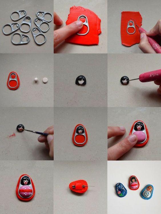 El Rincon de Fri-Fri: Minitutorial: Haz figuras con arcilla polimérica y anillas de latas de conserva - Fimo, Cernit et accessoires : http://www.creactivites.com/236-pate-polymere::