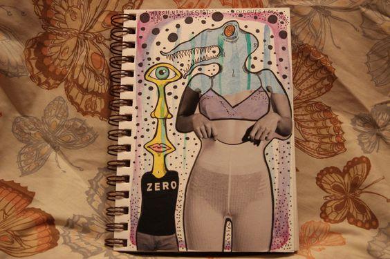 Collage. Illustration. Sketchbook. Journal. Watercolors. Polka dots. Creature. Monster. Zero.