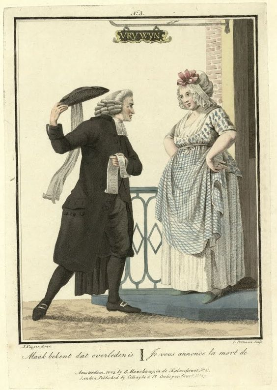"""Je vous annonce la mort de.."". The ""aanzegger"" a professional who went door to door to announce a person's death.  Maaskamp 1803"