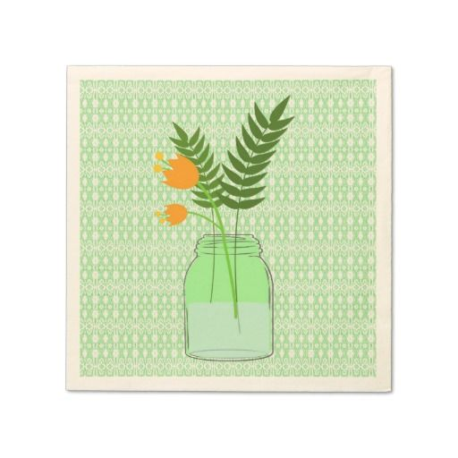 Mason Jar with Flowers on Green Lace Paper Napkins