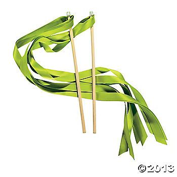 Lime Green Ribbon Wands