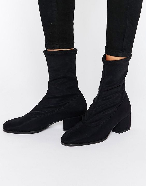 Vagabond Daisy Black High Cut Sock Boots