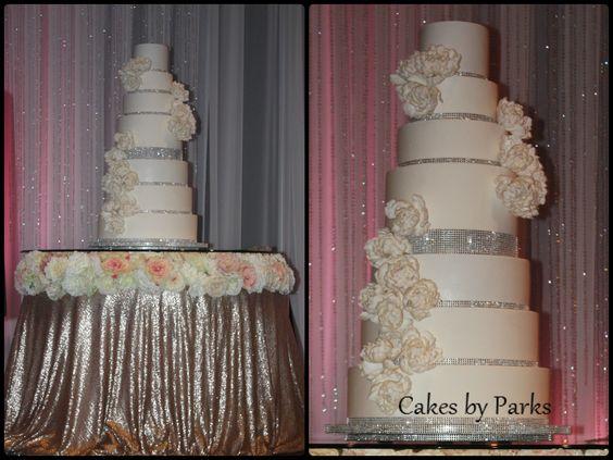 white wedding cake with bling