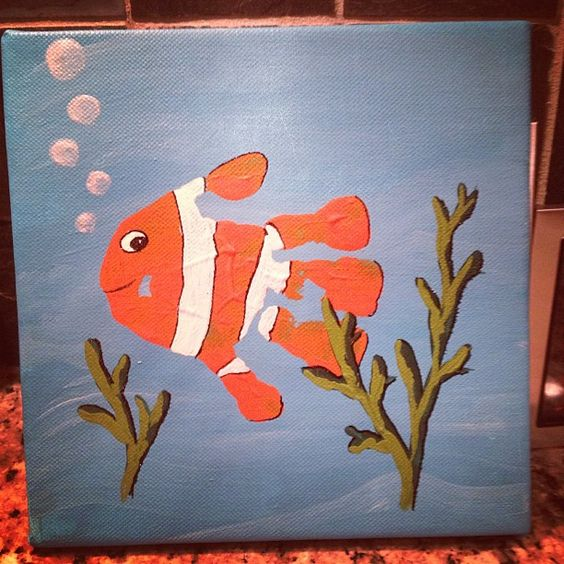 Handprint fish my own projects pinterest fish for Arts and crafts style prints