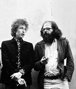 """Bob Dylan & Allen Ginsberg,  San Francisco 1965 """"From the series of images shot in the City Lights Books alley originally for the Blonde on Blonde album (photographs not used in that project). Imagine going back to school the next day after this session, what do you say to your friends?"""