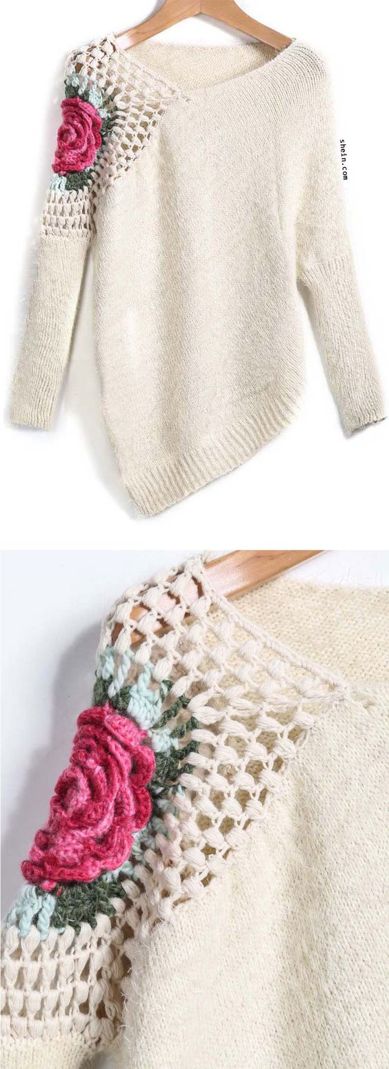 Apricot Round Neck Floral Crochet Loose Sweater. Can't stop loving it!: