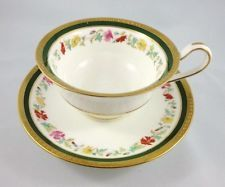 Raised Gold & Handpainted Floral Garland Wedgwood Tea Cup and Saucer Set