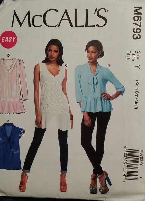 McCall's Pattern M6793 Ladies Loose Fitting Pull Over Tops 4 Styles sizes 4-14