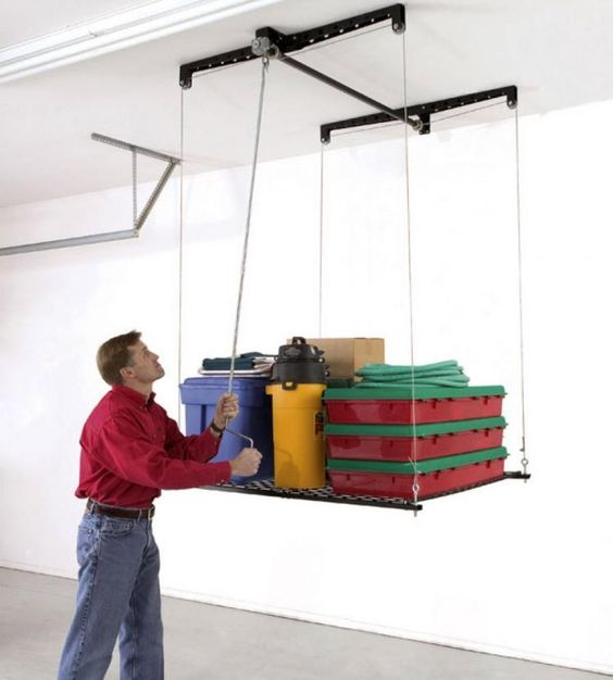 Storage racks pulley and garage on pinterest