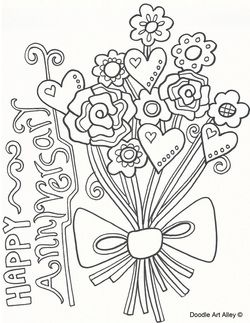 Happy anniversary anniversaries and coloring on pinterest for Wedding anniversary coloring pages