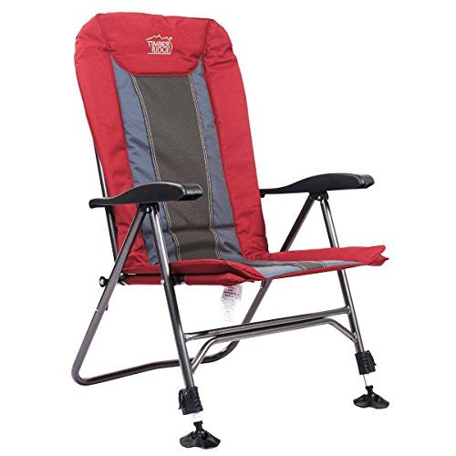 Timber Ridge Camping Chair With Adjustable Reclining Padded Back