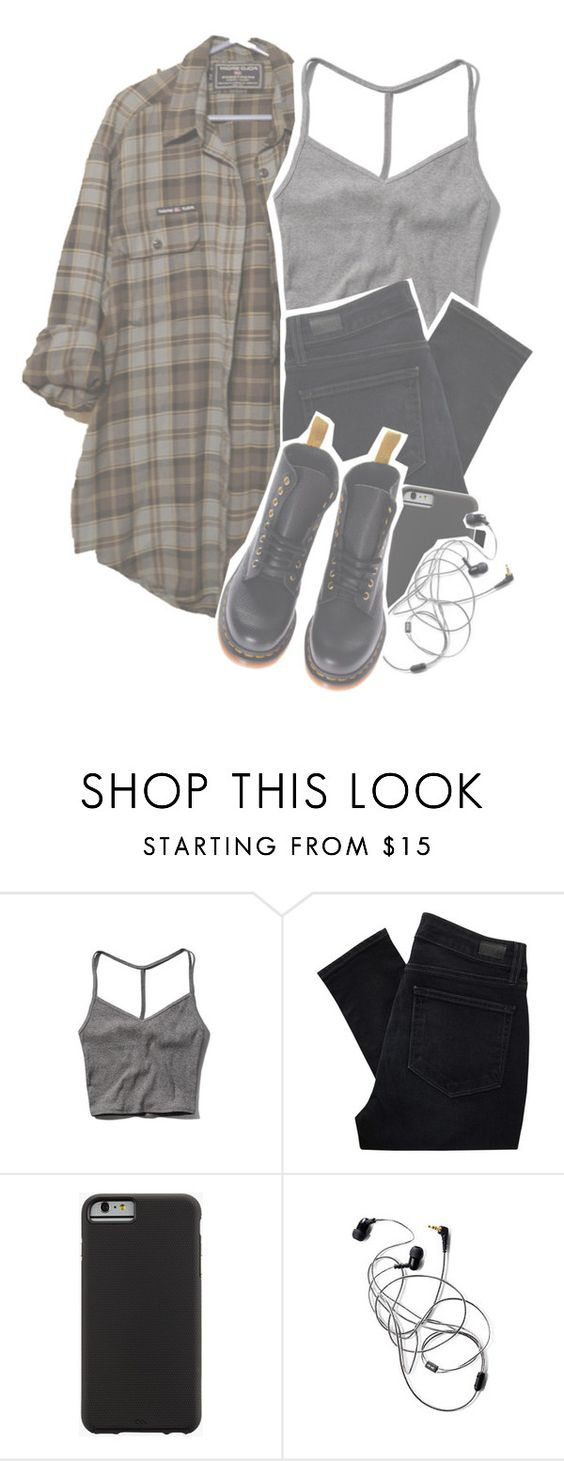 """""""i like your face, do you like my song?"""" by beylulari ❤ liked on Polyvore featuring Abercrombie & Fitch, Paige Denim, Case-Mate, Dr. Martens, cool, tumblr, teen, grunge and badfashion"""