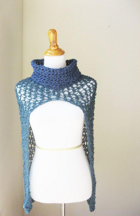 CAPELET PONCHO ROLLKRAGEN blau blaugrün Capelet, häkeln Poncho, Knit Cape, Schal Boho Chic, feminin-Umhang, Frühling-Herbst-Mode