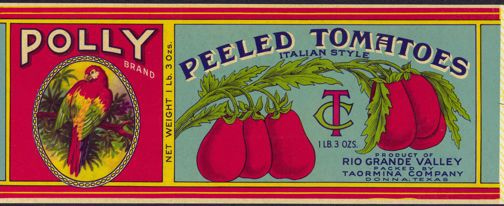 1930 - Polly Brand Peeled Tomatoes Can Label with Large Colorful ...