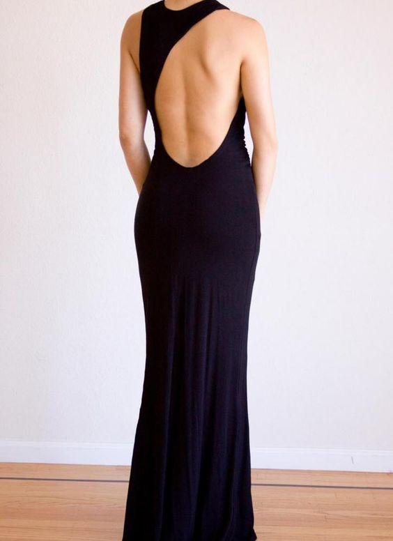 Black Maxi Backless Cut out Cowl Neckline Dress