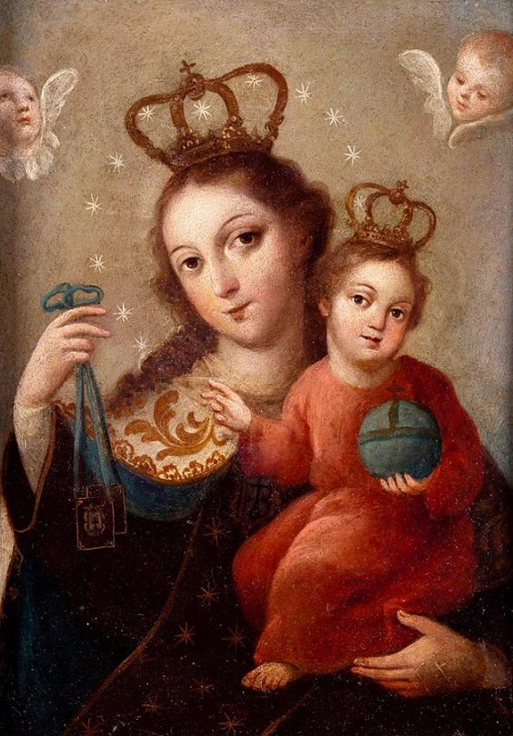 Virgen del Carmen. Escuela mejicana, s. XVIII: