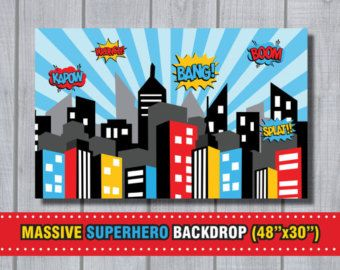 SUPERHERO Birthday Party City Scape Background by EniPixels