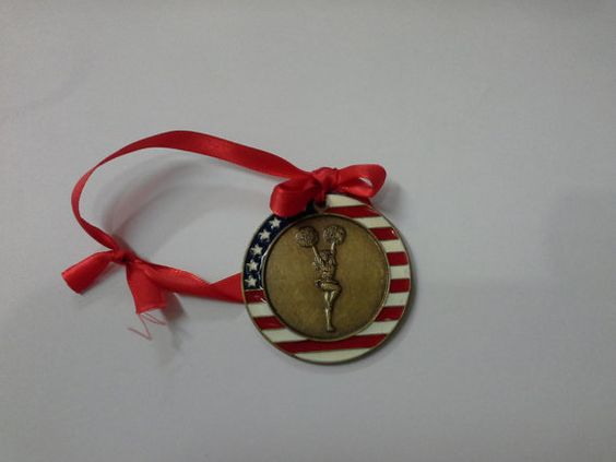 Red White & Blue Cheerleading Christmas Ornament by GiftWorks. CLICK NOW and get FREE SHIPPING $8.95 for the holidays