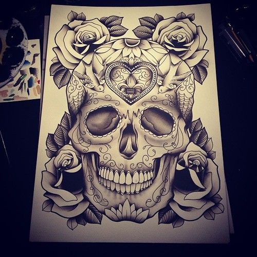 This is the sugar skull I want!!! It's decided :-) just a little modified