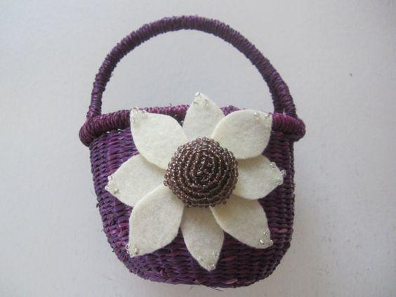 Flower Girl Basket Wedding Ivory Purple Aster Flower custom color #wedding by ArtisanFeltStudio, $25.00